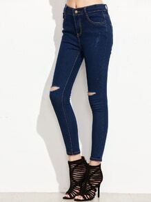 Dark Blue Knee Ripped Skinny Jeans