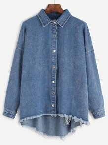 Blue Drop Shoulder High Low Frayed Hem Denim Coat