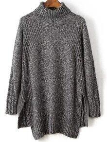 Dark Grey Turtleneck Side Slit High Low Sweater