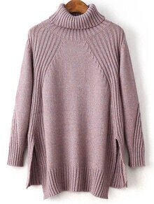 Purple Turtleneck Side Slit High Low Sweater