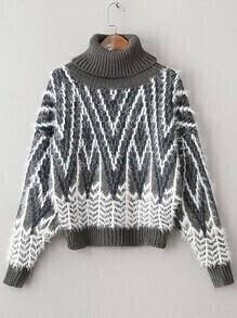 Jersey de mohair con estampado geométrico y cuello vuelto - gris