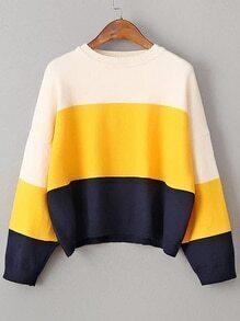 Pull lâche couleur bloc - tricolore