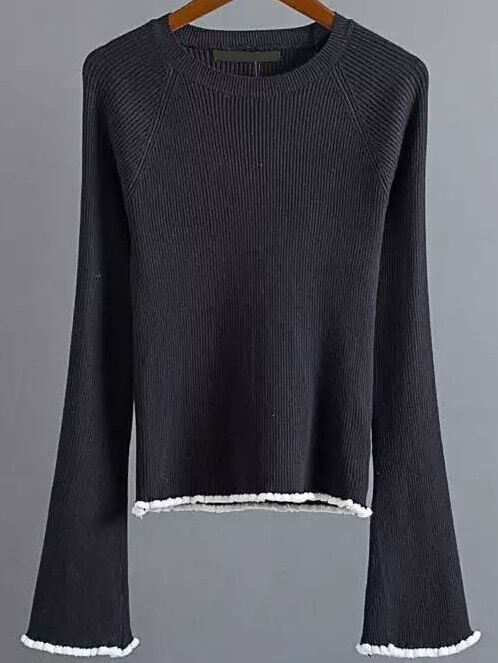 Black Contrast Trim Bell Sleeve Knitwear