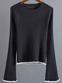 Jersey de manga acampanada con ribete en contraste - negro
