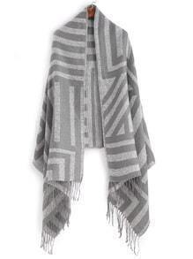 Grey Stripe Fringe Edge Shawl Scarf
