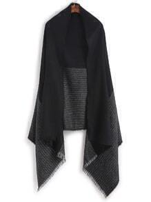 Black Stripe Eyelash Fringe Shawl Scarf