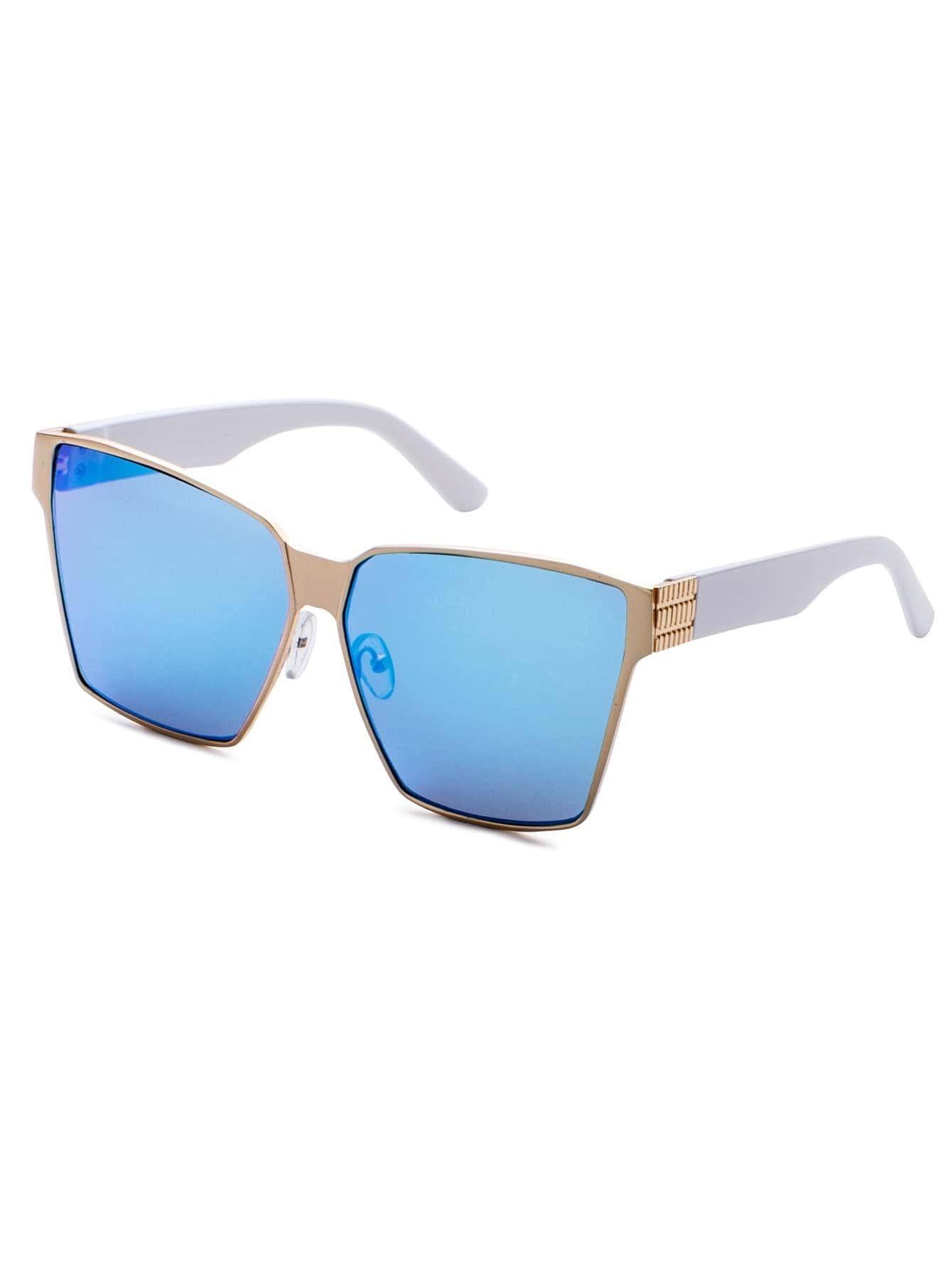 Metal Geometric Frame Blue Lens Sunglasses sunglass161012301