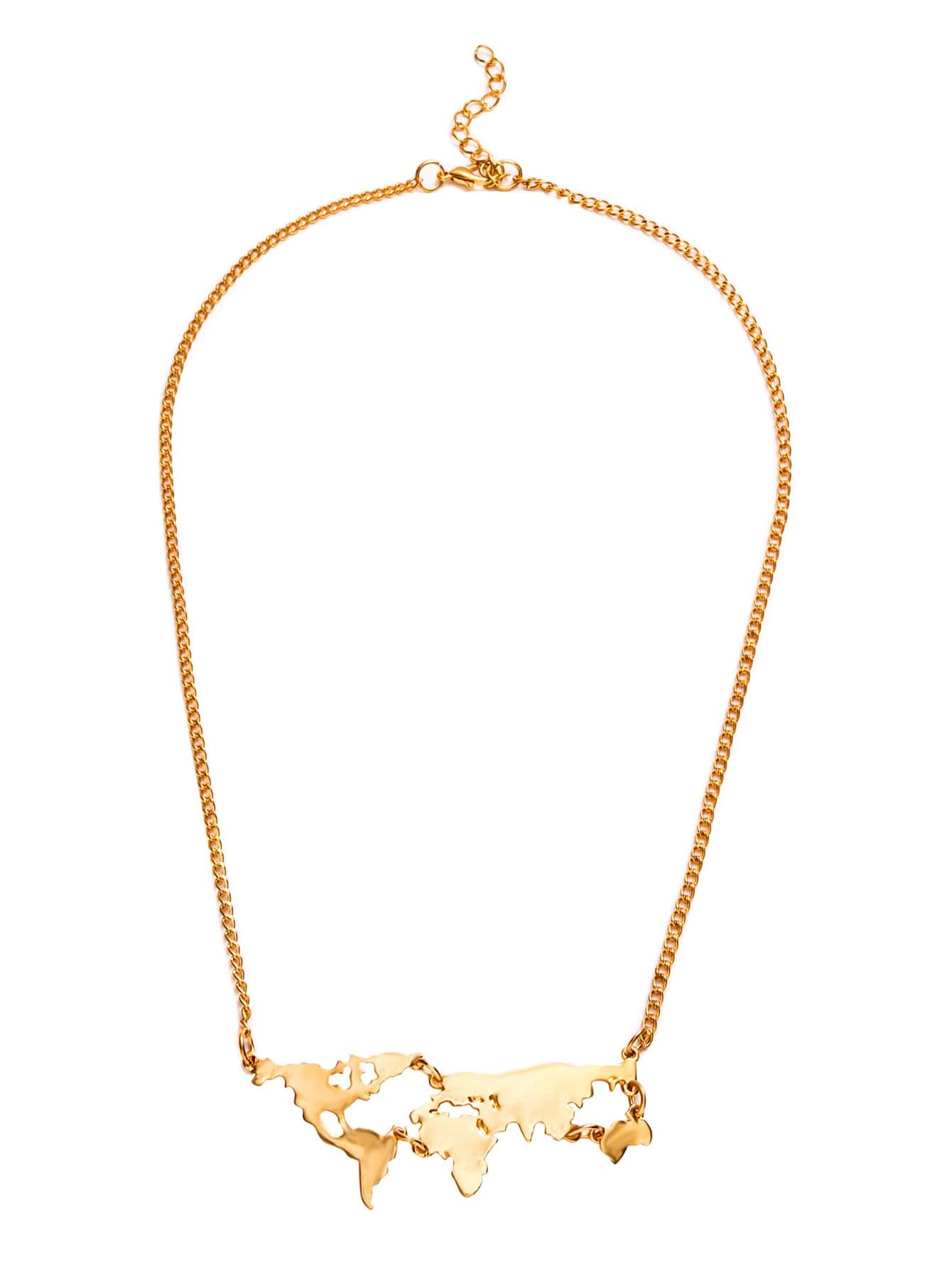 Gold Personalized World Map Statement Necklace