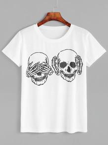 Camiseta con estampado de calavera - blanco