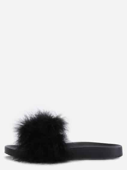 Black Faux Fur Soft Sole Flat Slippers