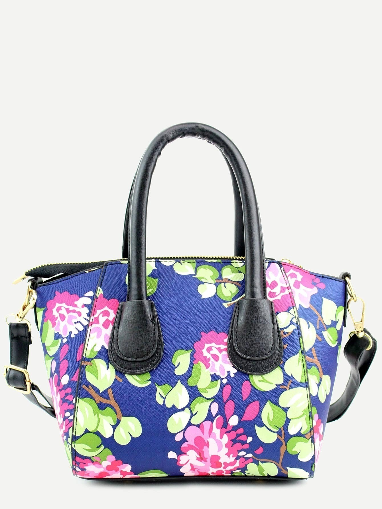 Blue Floral Print Handbag With StrapFor Women-romwe