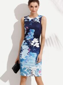 Multicolor Floral Sleeveless Sheath Dress