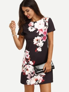 Multicolor Floral Short Sleeve Dress