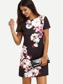 Vestido floral manga corta -multicolor