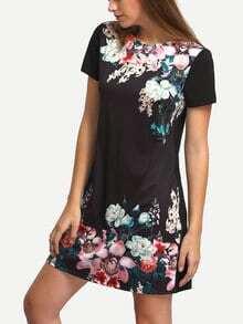 Vestido escote redondo flores vintage -negro