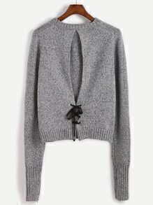Jersey espalda con cordones - gris