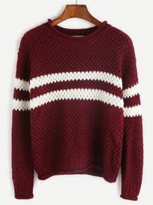 Burgundy Striped Casual Sweater