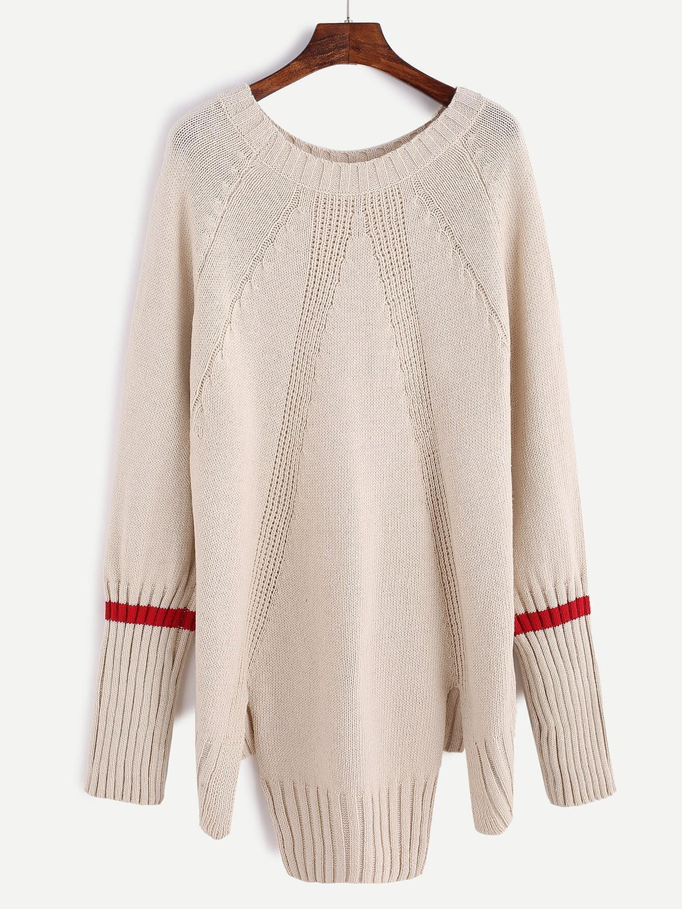 Apricot Contrast Trim Raglan Sleeve Slit Hem Sweater RKNI161013108