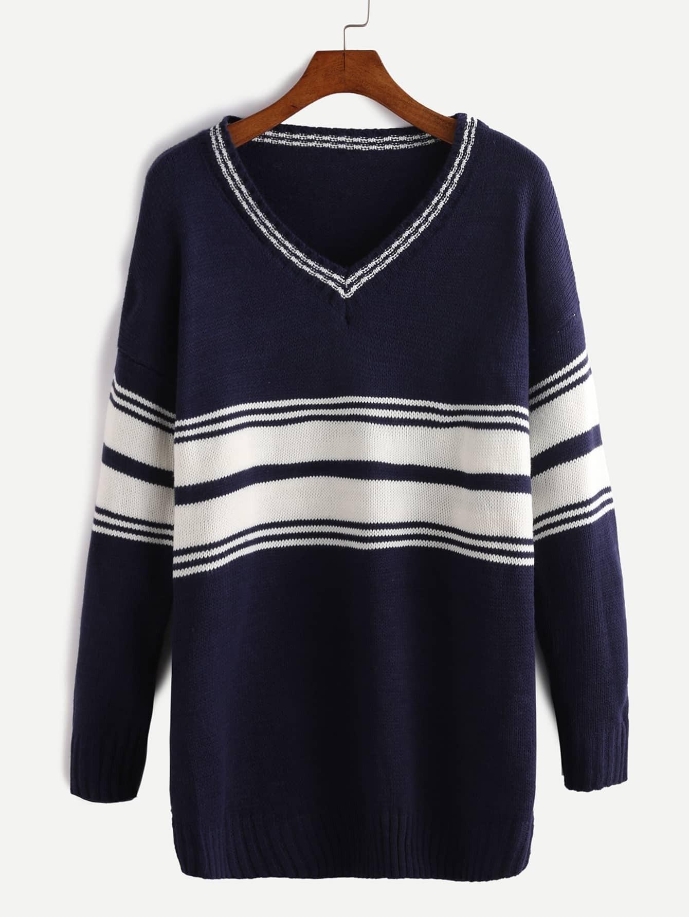 Navy Striped V Neck Dropped Shoulder Seam Sweater RKNI161013110