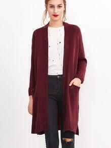 Burgundy Open Front Drop Shoulder Pockets Sweater Coat