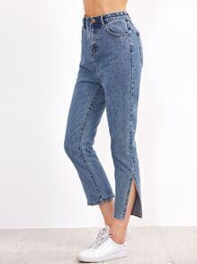 Blue High Waist Slit Side Jeans