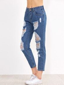 Blue Ripped Pocket Jeans