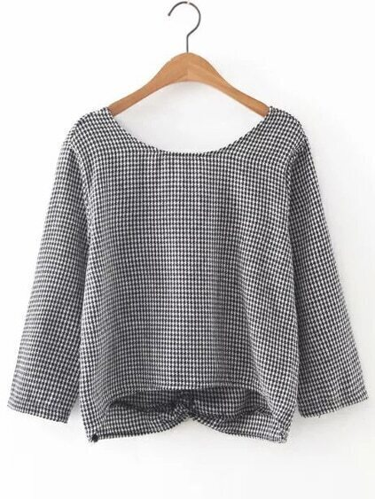 Black And White Houndstooth V Back Dip Hem Blouse