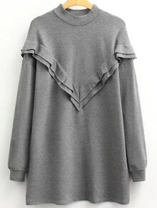 Robe sweat-shirt manche longue - gris