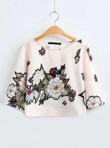 T-shirt Halbärmel Blumen Druck-beige