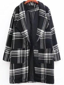 Black Plaid Shawl Collar Coat With Pocket