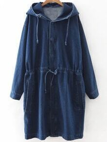 Blue Drawstring Waist Hooded Denim Coat