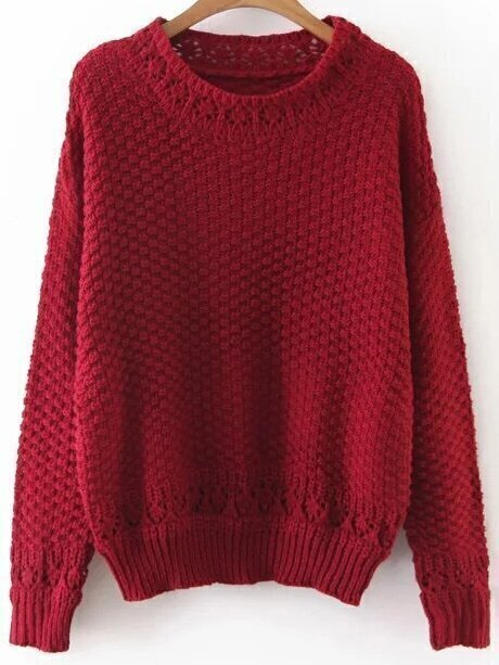Pull creux col rond rouge french romwe for Interieur paupiere inferieure rouge