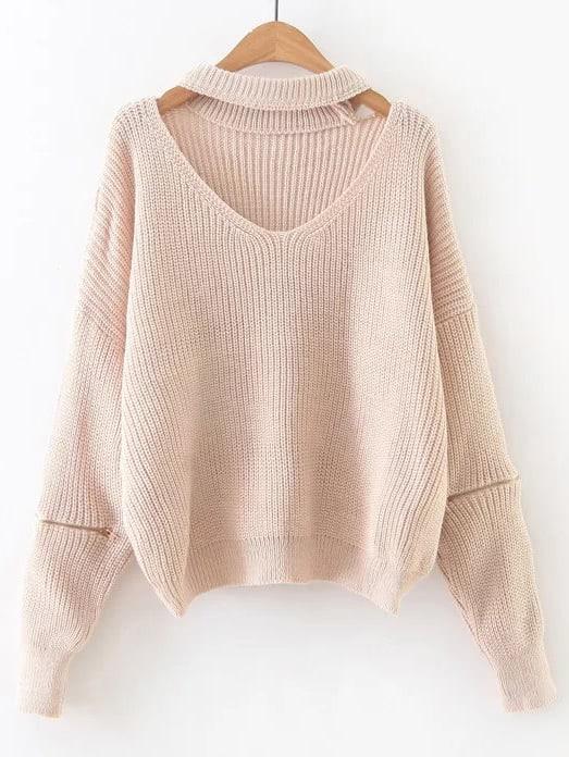 Apricot Choker V Neck Zipper Sleeve Sweater