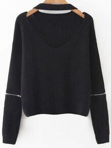 Black Choker V Neck Zipper Sleeve Sweater