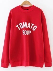 Sweat-shirt col rond imprimé lettres - rouge