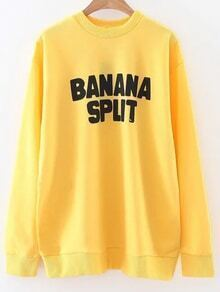 Yellow Letter Print Crew Neck Sweatshirt