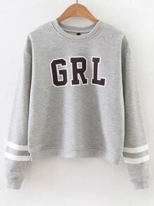 Grey Letter Print Striped Sleeve Sweatshirt