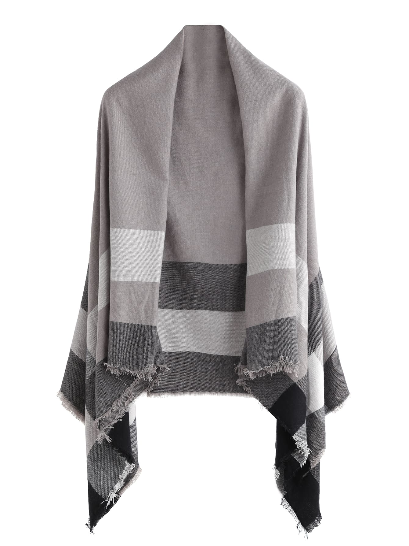 Grey Plaid Raw Edge Shawl Scarf scarf161013007