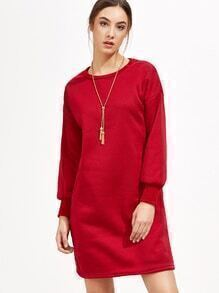 Red Dropped Shoulder Seam Sweatshirt Dress