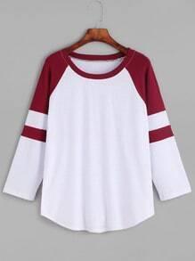 Camiseta con manga raglán en contraste