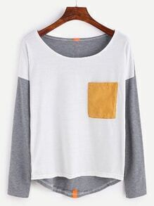 Contrast Drop Shoulder High Low T-shirt With Tape Detail