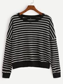 Black Striped Dropped Shoulder Seam Sweatshirt