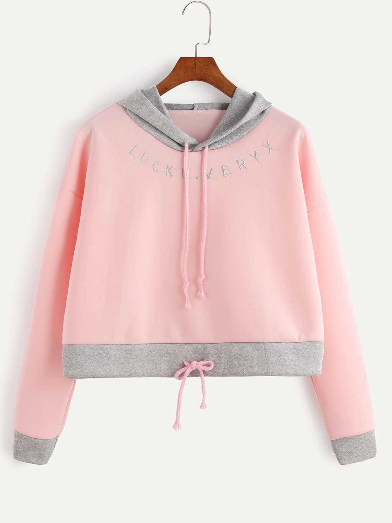 Pink Contrast Trim Letter Embroidery Drawstring Hooded Sweatshirt RSWE161014105