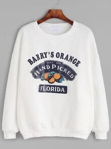 Sweat-shirt imprimé orange et lettres - blanc