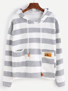 Wide Striped Dual Pocket Dip Hem Drawstring Hooded Sweatshirt