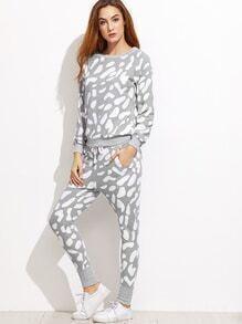 Sweat-shirt imprimé manche raglan avec pantalons taille avec lacet - gris