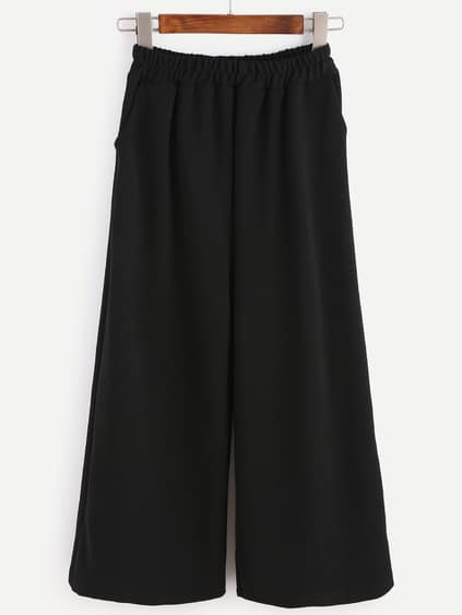 Black Elastic Waist Pockets Wide Leg Pants