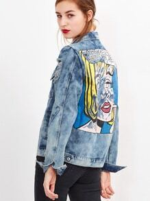 Blue Cartoon Print Back Bleach Wash Ripped Denim Jacket