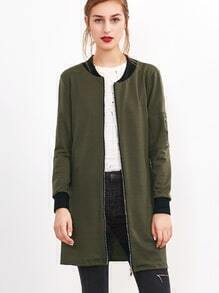 Army Green Contrast Trim Zip Up Long Jacket