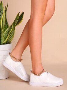 White Faux Leather Low Top Ankle Chain Flats